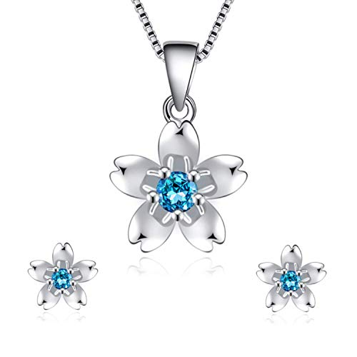 I'S ISAACSONG 925 Sterling Silver Sakura Flower Charm Cubic Zirconia Crystal Pendant Necklace and Earring Jewelry Set for Women and Girl (Blue Cubic Zirconia Flower Set)