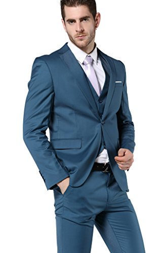 MOGU Mens One Button Suits 3 Piece Suit US Size (Dress Suit Blue 3 Piece)