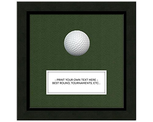 7x7 Black Golf Ball Frame Moulding blk-004 Shadowbox Frame, Green Mat (Card & Ball not Included) ()