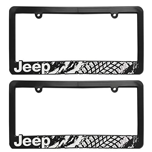 Custom Car Gar Jeep License Plate Frame Bracket 3D Raised Letter Jeep Mudding Tire Tread Mud Splat (Set of 2)