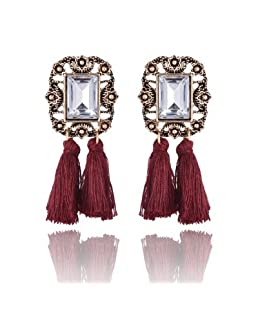 Jewels Galaxy Limited Edition Crystal Geometric Plushy Thread Tassel Earrings For Women/Girls