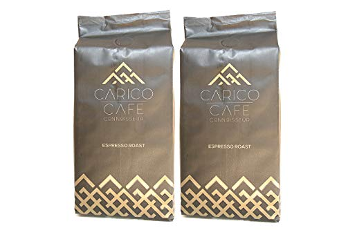 Carico Cafe Connoisseurs Premium Whole Bean Coffee Espresso Roast, 2 Pack, 1.1 Pounds | African Arabica & Robusta Blend from Uganda