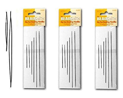 Beadsmith Big Eye Needles in 4 Sizes - 3 Packs of 6 Large Eye Needles each (18 Needles) by Beads Direct USA