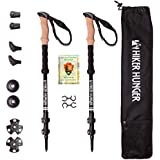 Hiker Hunger Aluminum 7075 Trekking Poles Ultra Lightweight & Strong, Adjustable with Quick Flip Lock - Cork Grip & Padded Straps, Tungsten Tips for Hiking and Backpacking…