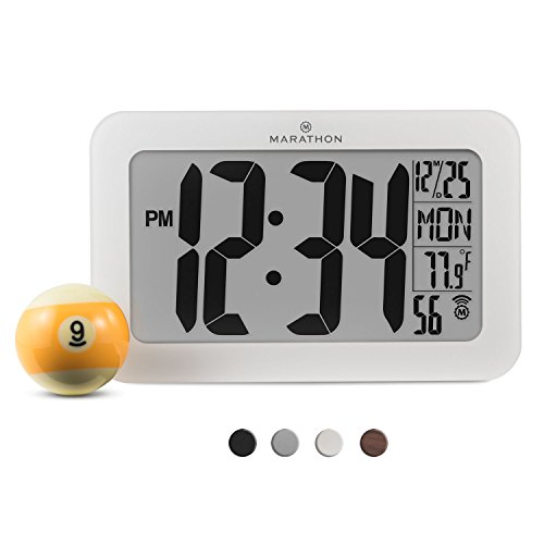 Marathon Cl030033wh Panoramic Atomic Self Setting Self Adjusting Wall Clock W  Stand   8 Timezones   Acrylic Glass   Batteries Included  White