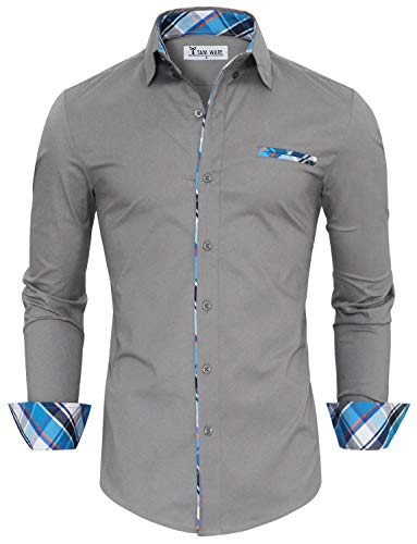 TAM WARE Mens Premium Casual Inner Contrast Dress Shirt ()