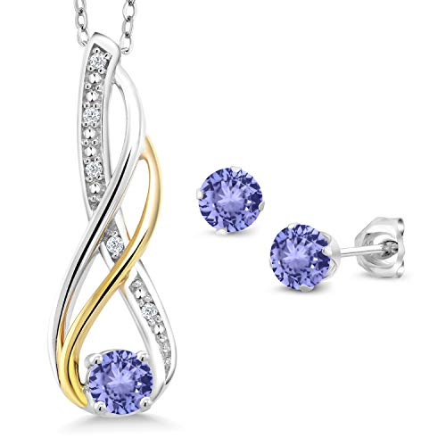 Gem Stone King 0.94 Ct Blue Tanzanite Diamond 925 Silver & 10K Yellow Gold Pendant Earrings Set