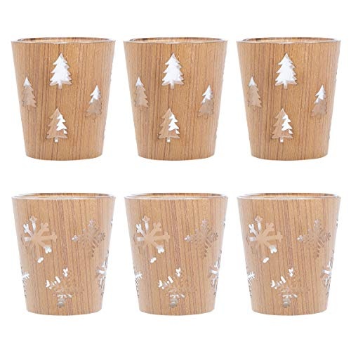 tag (6 Pack Glass Votive Candle Holders Round Tealight Holder Bulk Rustic Candle Holder Set Decorative Home Décor