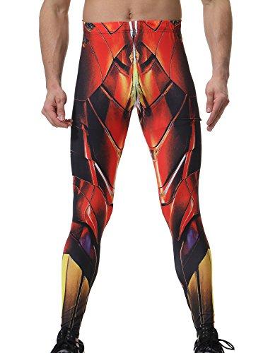Red Plume Man Pantalones Superhero Tight para los deportes Running Fitness Hero Pantalones Traje Cosplay puntadas