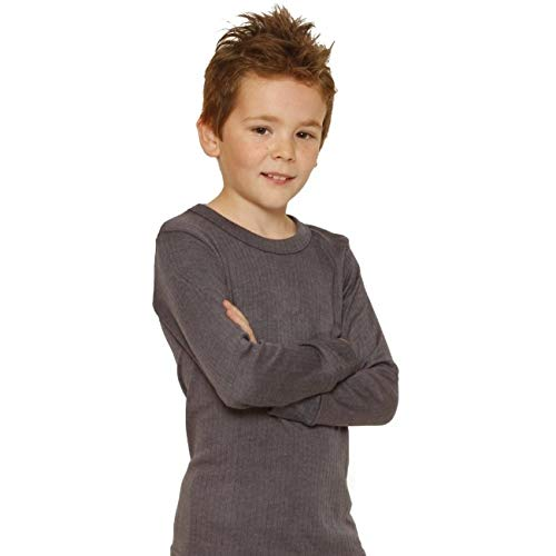 Octave 6 Pack Boys Thermal Underwear Long Sleeve T-Shirt/Vest/Top (9-11 yrs [Chest: 28-30 inches], Charcoal) by Octave