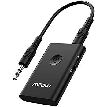 Mpow Bluetooth Transmitter and Receiver 2-in-1, Bluetooth Transmitter for TV, Wireless Bluetooth Adapter for Hi-Fi CD-Like Voice Enjoyment, Bluetooth Audio Receiver for Car/Home Stereo System