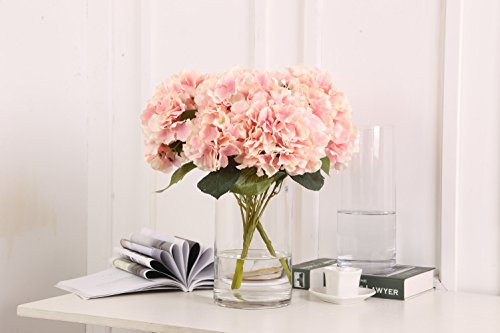 Sunrisee Artificial Flowers 5 Big Heads Fake Silk Hydrangea Flowers for Home Hotel Wedding Party Garden Floral Decor, Pink