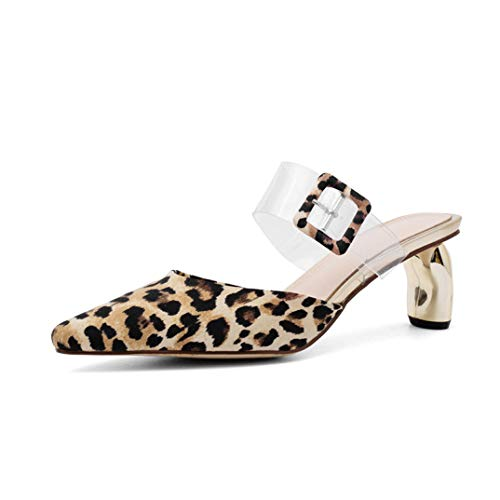 Energyers Women Pumps Genuine Leather Shoes Buckle Summer Party Wedding Shoes Ladies Mules Dress Shoes