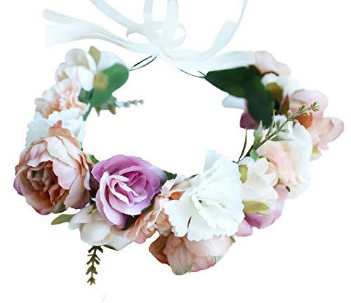 Girl Wreath - Vivivalue Boho Flower Crown Flower Garland Headband Hair Wreath Floral Headpiece Halo with Ribbon Wedding Party Festival Photos Pink
