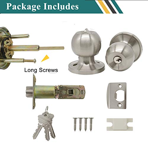 Probrico Satin Nickel Finish One Keyway Door Knobs Hardware Entry with Key Handles Keyed Alike Door Lockset, 3 Pack, Keyed Hardware by Probrico (Image #7)
