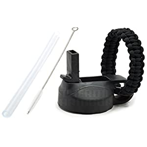 32oz Black Wide Mouth Straw Lid Cap with Paracord Loop Handle + Silicone Straw + Straw Brush for Hydro Flask & Takeya ThermoFlask bottles (Black w/ paracord, 32oz)