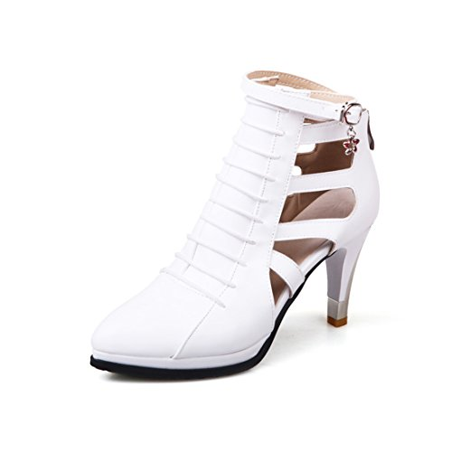 Susanny Women Trendy Buckle Ankle Bootie Classic Stiletto Heels Cut-Out Sexy Wedding Party White Dress Pumps 8.5 B (M) US