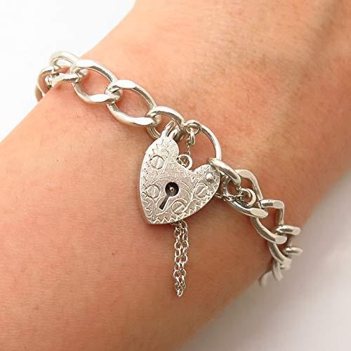- 925 Sterling Silver Vintage London Heart Lock Design Cable Link Bracelet 7