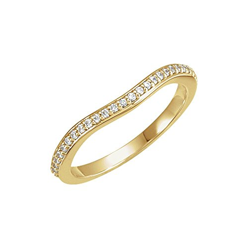 Bonyak Jewelry 18k Yellow Gold 1/8 CTW Diamond #2 Band for 6mm Square Engagement Ring - Size 7 18k Yellow Gold Diamond Match