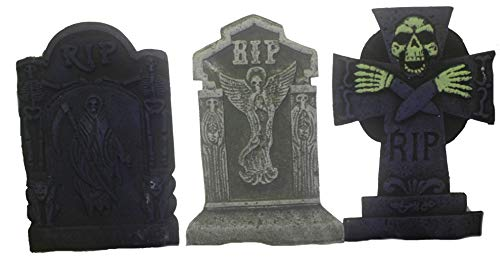 Bauer Pacific Set of 3 Reusable Realistic 21'' Asst. Halloween Foam Tombstones, Props, Graveyards, Haunted House, Yard Decorations and Accessories by Bauer Pacific