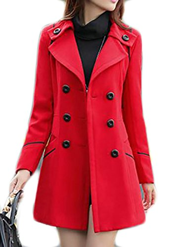 Joe Wenko JWK Women's Double-Breasted Slim Wool-Blend Solid Winter Pea Coats Red L
