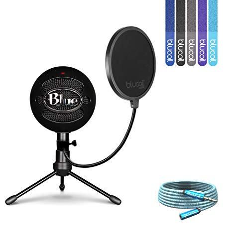 Blue Microphones Snowball iCE Cardioid Condenser Microphone (Black) Bundle with Blucoil Pop Filter, 6-Ft 3.5mm Headphone Extender and 5-Pack of Reusable Cable Ties