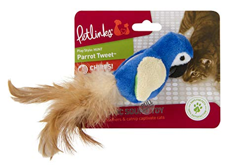 Petlinks Parrot Tweet Touch Activated Cat Toy (Night Bird That Sounds Like A Cat)
