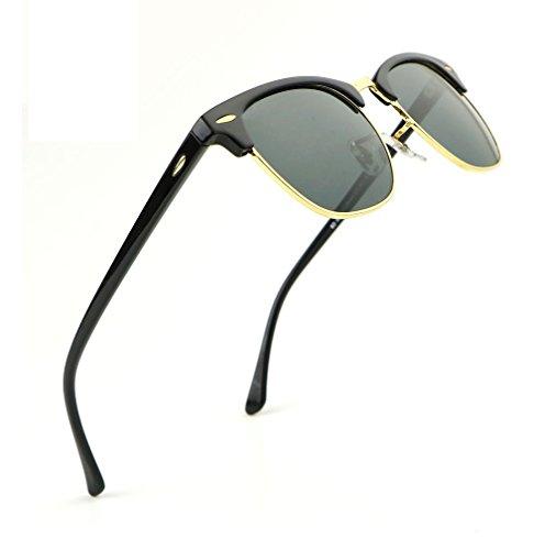 Dollger Porlarized Semi Rimless Sunglasses Classic Clubmaster Sun Glasses