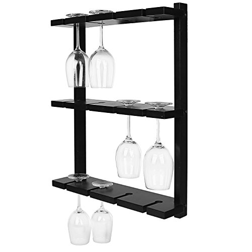 Black Wood Wall Mounted 12 Wine Glass Holder Rack, Inverted Stemware Display