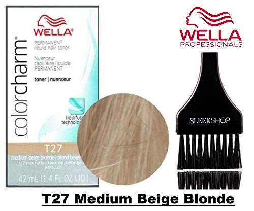 Wella COLOR CHARM Permanent LIQUID HAIR TONER (w/Sleek Tint Brush) Haircolor Liquifuse, 1:2 Mix Ratio Hair Color (T27 Medium Beige Blonde)