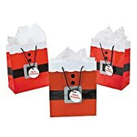 12 Santa Suit Gift Bags Medium - 9 Inch Size