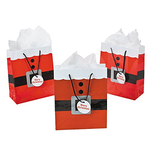 Fun Express Santa Clause Suit Medium Gift Bags - 12 Piece (Christmas Shopping Bags)
