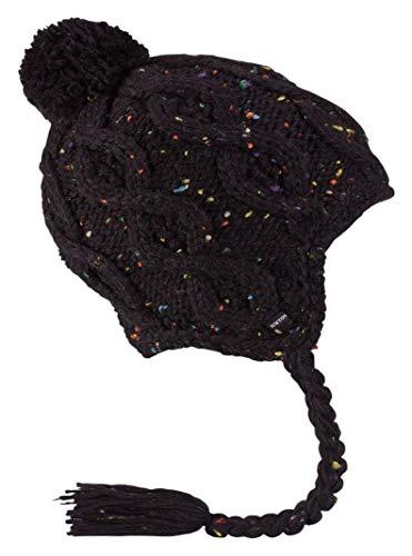 Burton Black Hat - Burton Women's Chloe Ear Flap Beanie, True Black, One Size