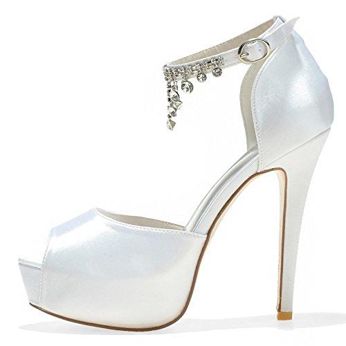 Pie 21 de D Seda Bombas del Boda 3128 Mujeres Satén Elobaby Dedo del Sandalias de Tacones TY Peep Las Altos Zapatos de Toe del La wfHfZv