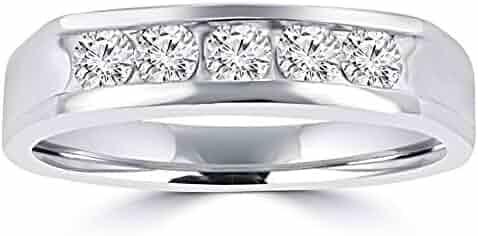 0.50 ct Men's Round Cut Diamond Wedding Band in 14 kt White Gold