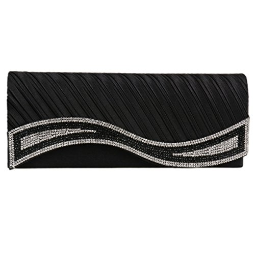 Damara Black Damara Clutch Women's Handbag Women's Rhinestones Satin Elegant RfqwT8x4d