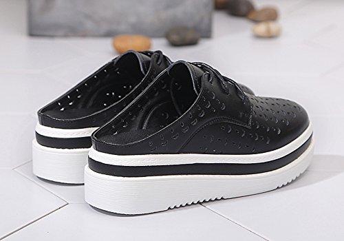 Verano EU35 Hueco Pantuflas Ventilación Grueso Blancos UK2 Medio Plataforma Negro L Zapatos Grueso Blanco Color Mujer Ocio Inferior Zapatos 22cm Inferior Baotou ZCJB Tamaño AqRxXEdA