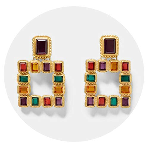 Vintage multicolor square earrings for women Metal earrings christmas fashion jewelry gift - Miller Armoires