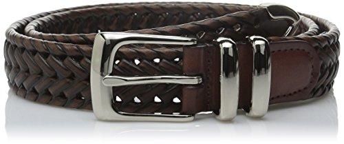 Perry Ellis Men's Portfolio Braided Belt, Brown, 38