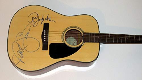 AJ Sports World Paul Simon & Art Garfunkel Dual Signed Fender Acoustic Guitar - BB COA - Paul Simon Signed