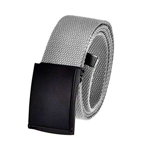 Men's Cut to Fit Golf Belt Casual Outdoor Canvas with Black Military Flip Top Buckle Medium Gray