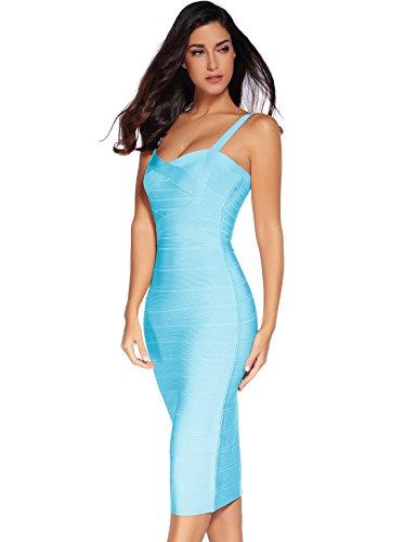 abito rayon da fascia Blue a aderente in donna 1 maniche senza Meilun qUndRq7