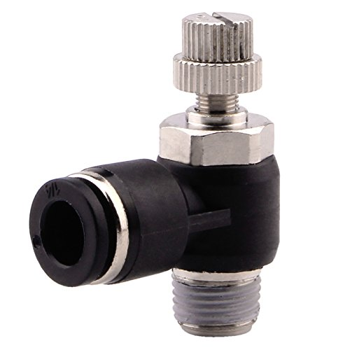 Push to Connect Fitting Valve - Air Flow Control Pneumatic Quick Connect Fittings Flow Speed Controller, Elbow, 1/4 Tube OD x 1/4 NPT