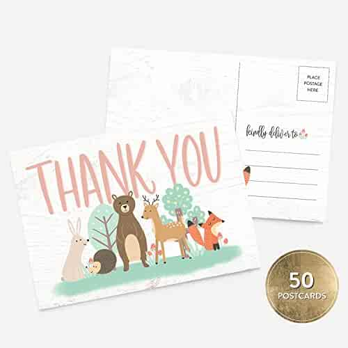 50 4x6 Girl or Boy Woodland Baby Shower Thank You Note Card Bulk Set, Blank Cute Animals Gender Neutral Baby Shower Postcards, Blank Thank You Note Card Stationery