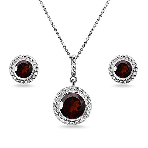 Sterling Silver Garnet Round-Cut Bead Halo Bezel-Set Pendant Necklace & Stud Earrings Set ()