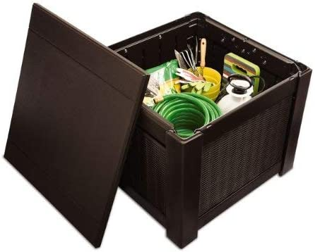Charmant Rubbermaid Patio Chic Outdoor Storage Deck Box, Cube, Dark Teak Wicker  Basket Weave (1837303)