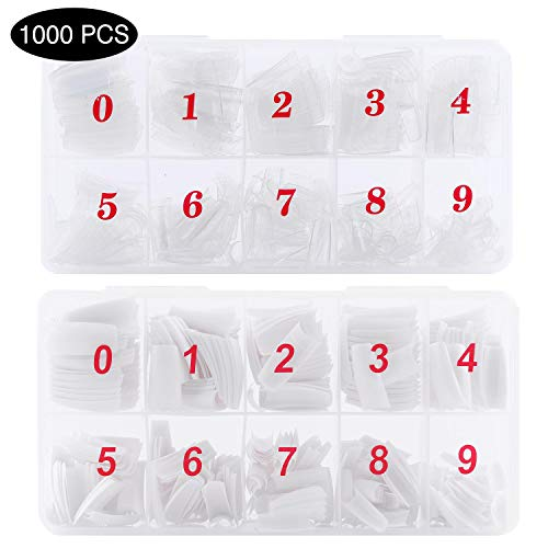 (1000 Pcs Acrylic False Nail French Style Artificial Half Tips Fake Nails with Box (White, Clear))
