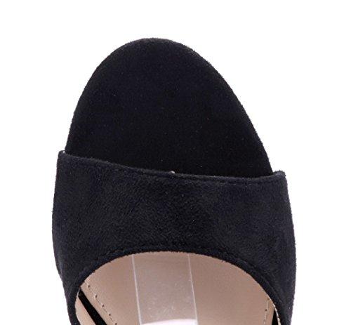 Schuhtempel24 Damen Schuhe Sandaletten Sandalen Blockabsatz 8 cm Schwarz