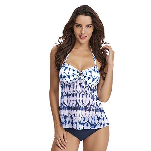 Wellwits Women's Tie Dye Halter Bandeau Swing Top Tankini Swimsuit Blue ()