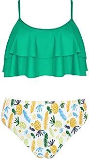 SHEKINI Girls Floral Printing Bathing Suits Ruffle Flounce Two Piece Swimsuits